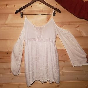 Cold Shoulders Boho Lacey White Dress